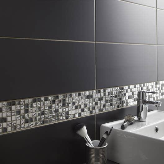 Faïence mur noir-noir n°0, Loft mat l.20 x L.50.2 cm | Leroy Merlin