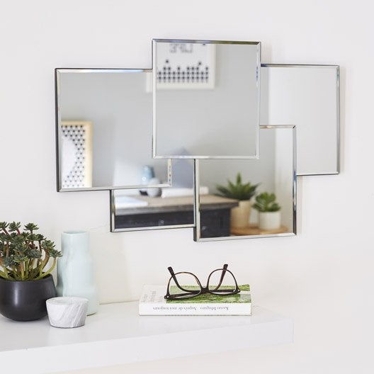 Miroir design carr silver miroir leroy merlin for Petit miroir design
