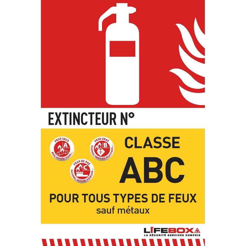 Panneau De Signalétique Extincteur Classe Abc Lifebox Pvc