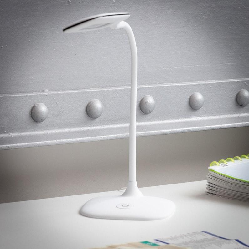Lampe De Bureau Led Integree A Poser Blanc Led Mei Inspire Leroy