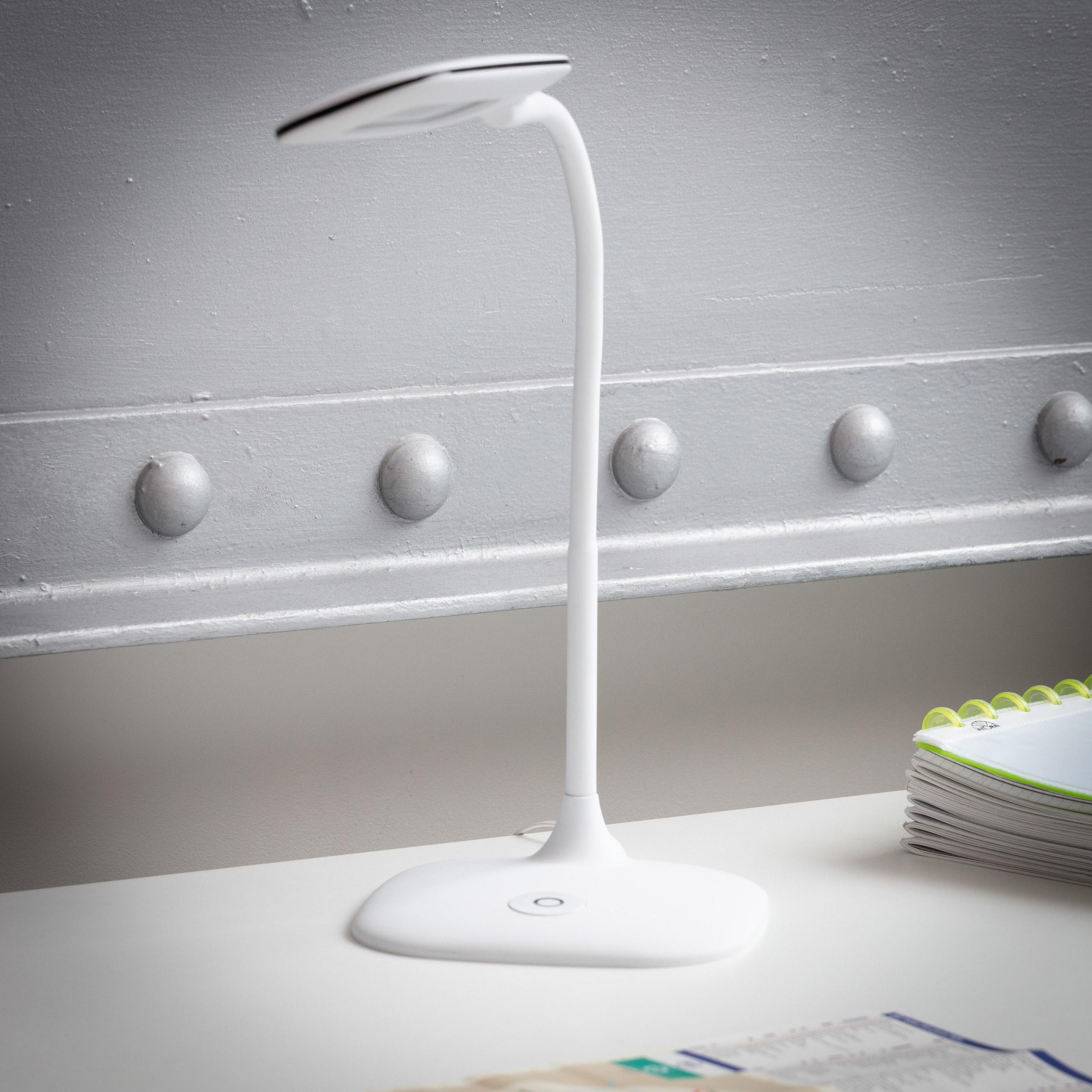 Lampe de bureau, led intégrée à poser blanc Led mei INSPIRE