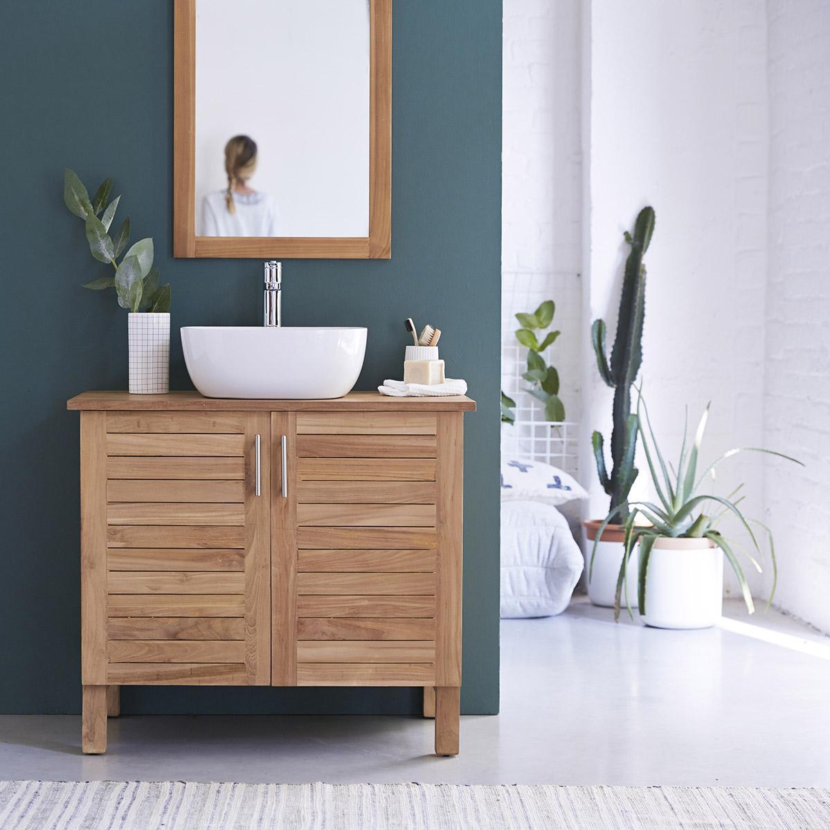 Meuble simple vasque l.85 x H.75 x P.55 cm, teck, Soho