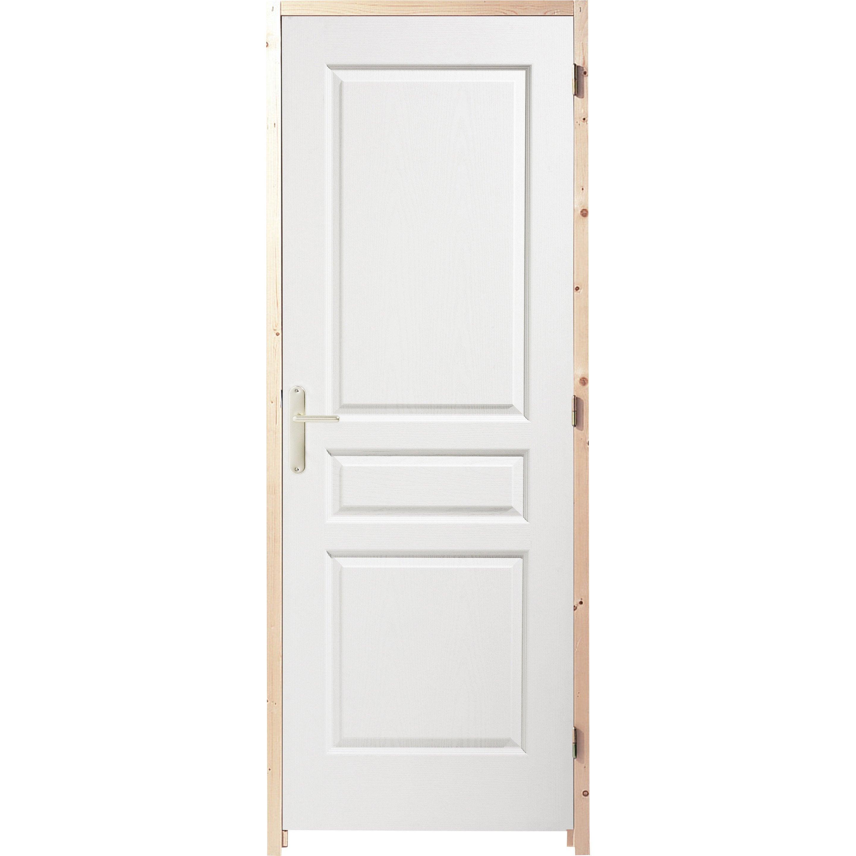 Bloc-porte postformé droite huisserie 65 mm H.204 x l.73 cm, poussant droit