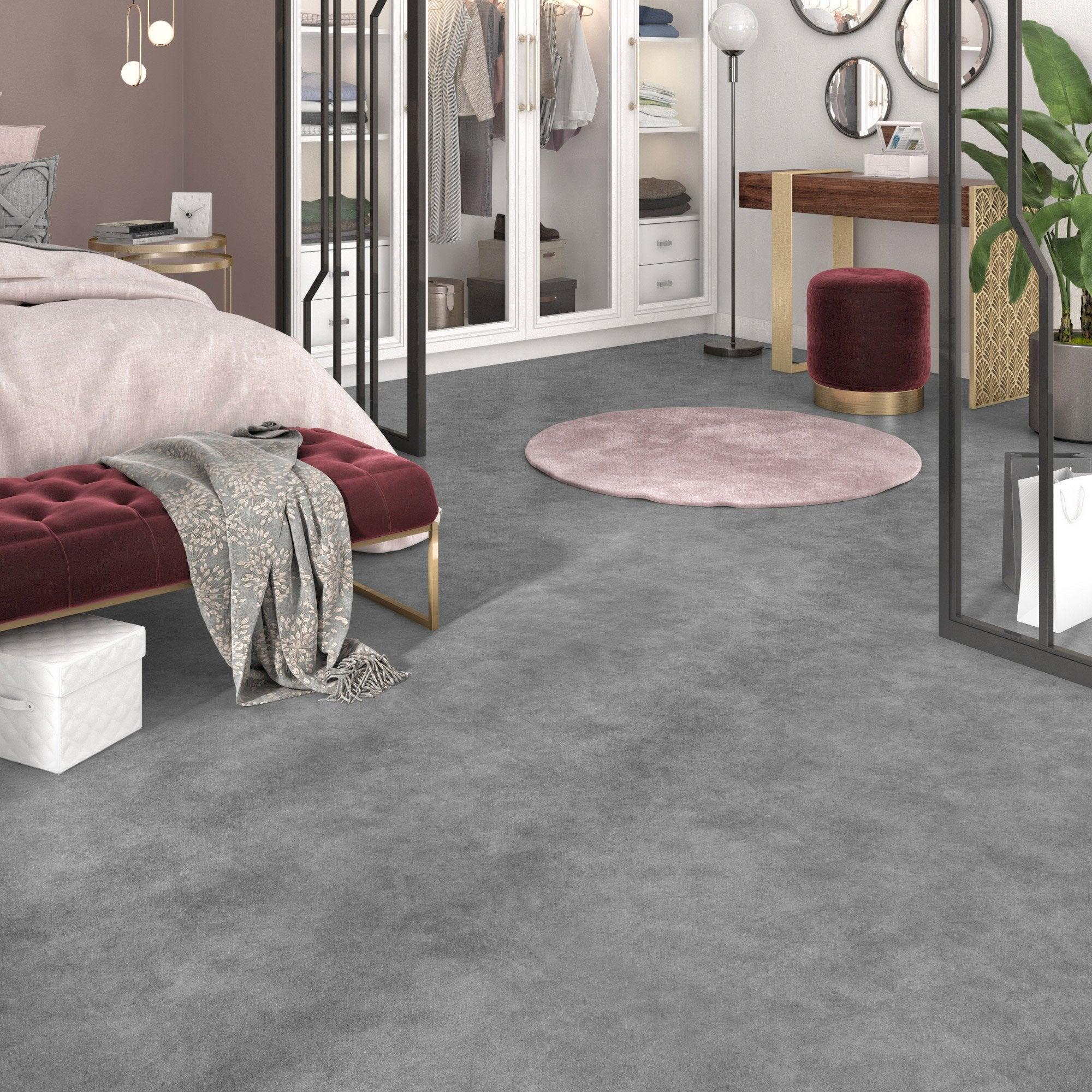 Sol PVC ARTENS effet béton gris gris galet 3 l.2 m