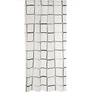 Rideau de douche en plastique l.120 x H.200 cm transparent, Square SENSEA