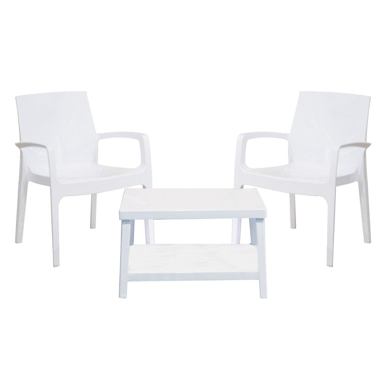 Salon bas de jardin Glossy blanc, 2 personnes | Leroy Merlin