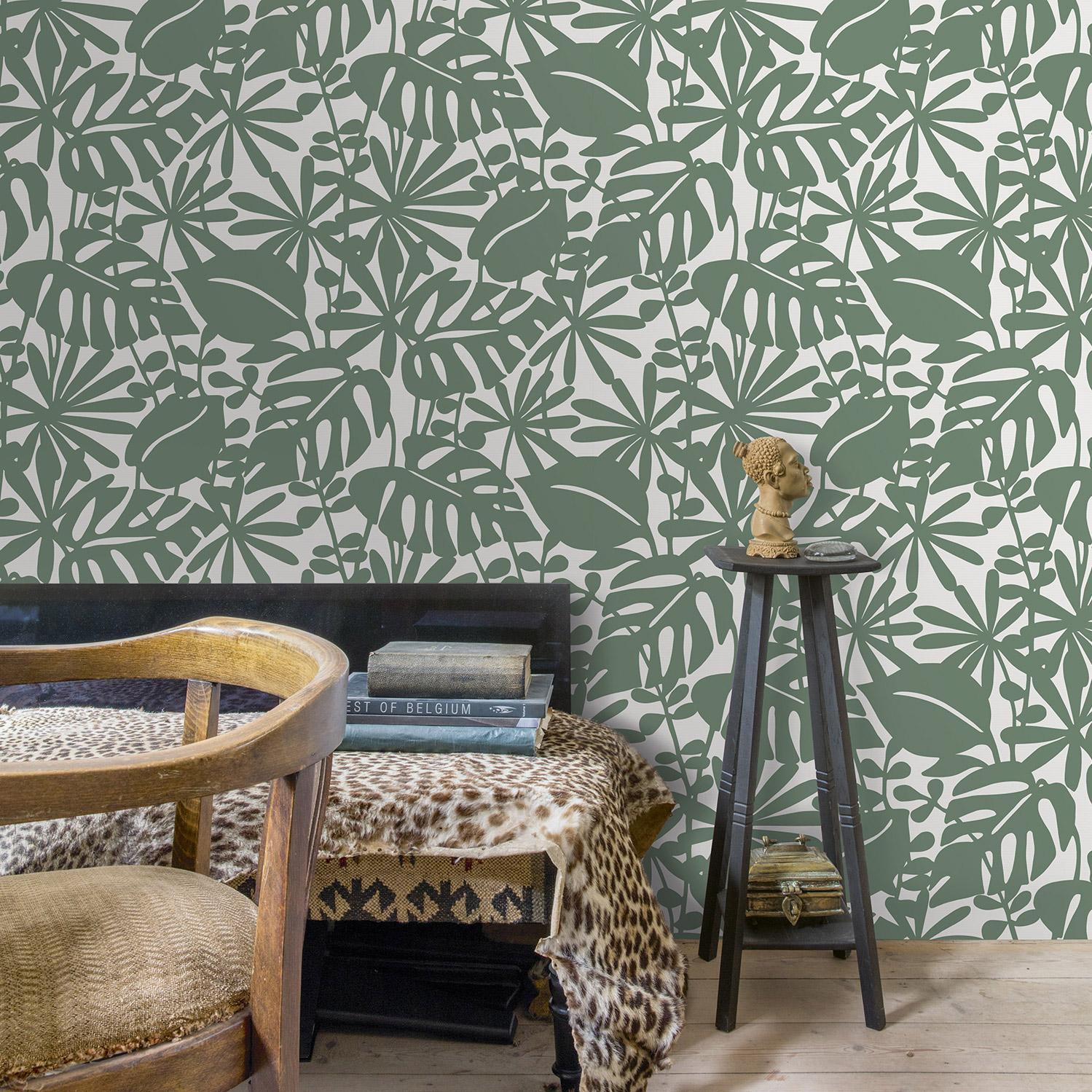 Papier peint expansé sur intissé Motif amapa vert