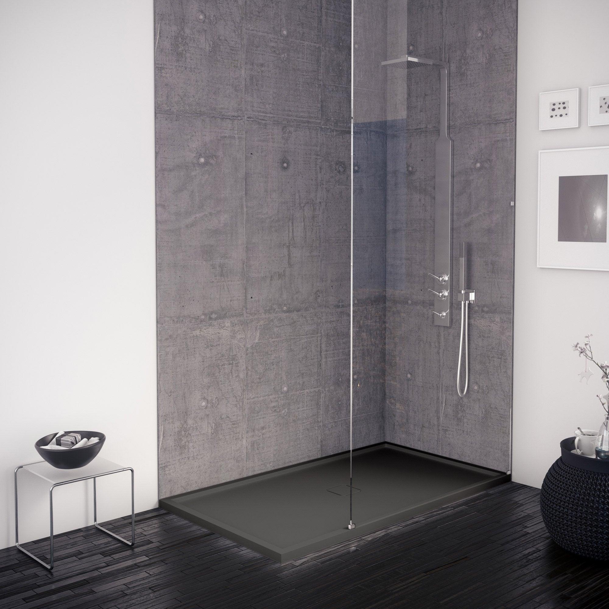 Receveur de douche, extraplat, pierre, noir L.120 x l.80 cm, Edo