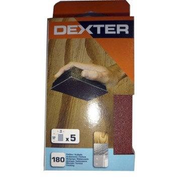 Lot de 5 recharges abrasives DEXTER, 125 x 70 mm grains 180