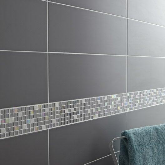 Fa ence mur gris galet n 3 loft x cm leroy merlin for Peinture sur faience douche