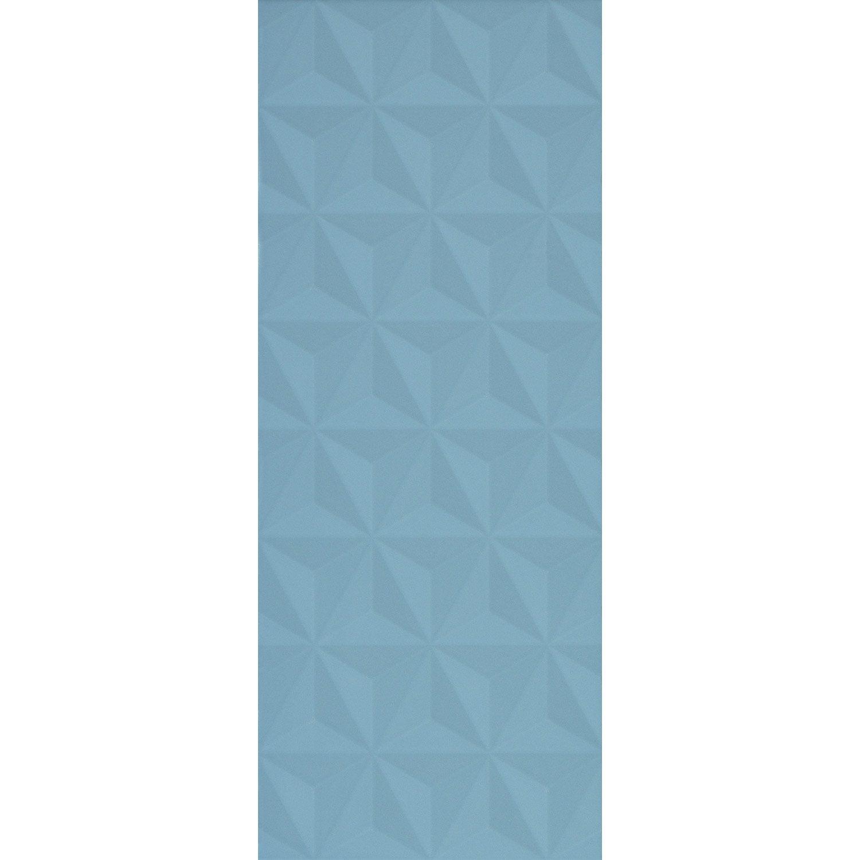 Faïence mur bleu baltique n°3, Décor loft facette mat l.20 x L.50.2 cm
