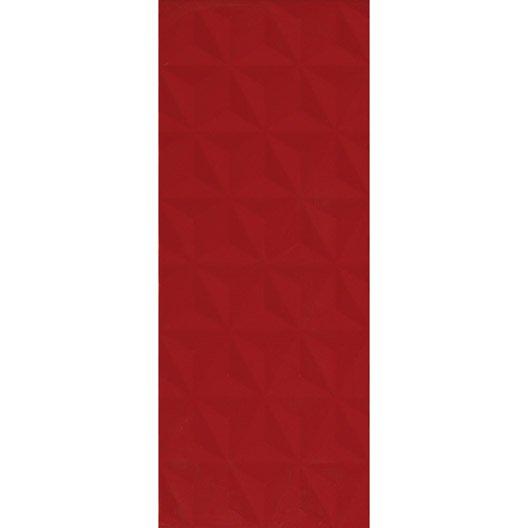 Fa ence mur rouge n 3 d cor loft facette x cm for Carrelage loft