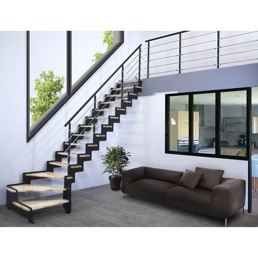 escalier quart tournant structure acier marche bois lamell coll about - Abri Piscine Bois Lamelle Colle