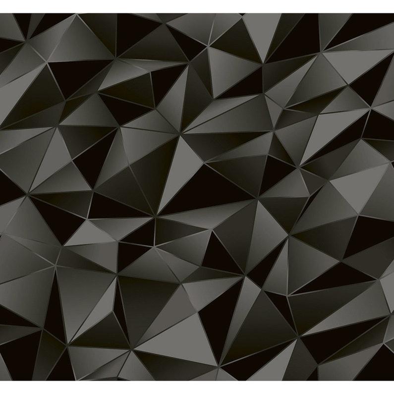 Papier Peint Vinyle Losange 3d Noir Leroy Merlin
