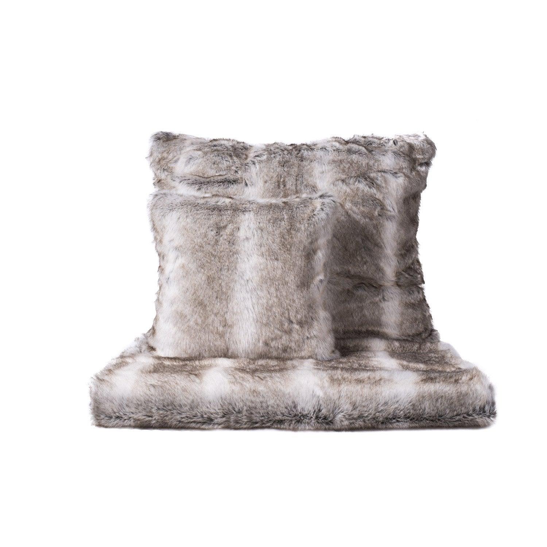 Plaid Loup, gris l.170 x L.150 cm