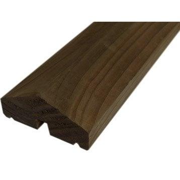 Profil de finition bois rainuré Douglas marron, H.220 x l.4 x P.11.6 cm