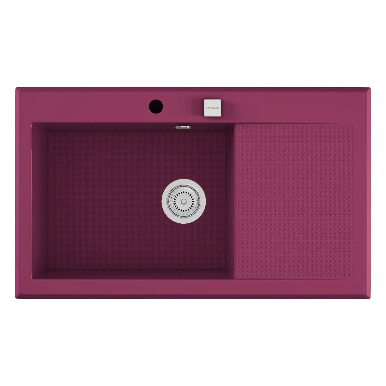 evier encastrer quartz et r sine violet shira 1 bac avec gouttoir leroy merlin. Black Bedroom Furniture Sets. Home Design Ideas