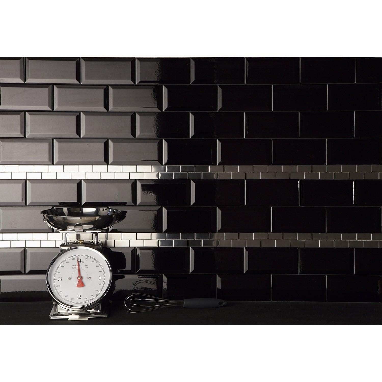 Faïence mur noir, Métro l.7.5 x L.15 cm