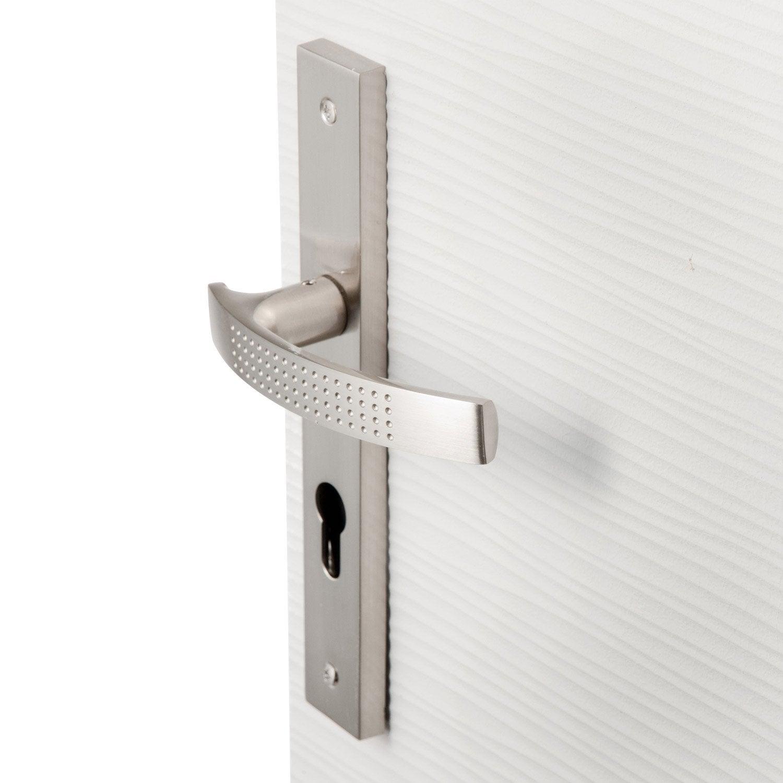 Poign e de porte louna trou de cylindre zinc nickel 195 mm leroy merlin - Cylindre de porte ...
