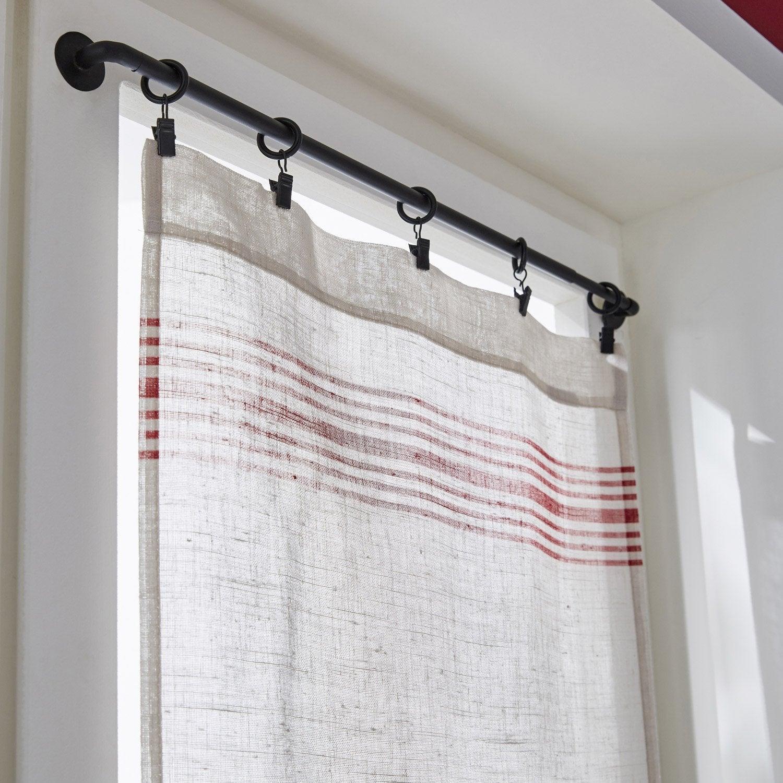 Paire de vitrages tamisant petite hauteur, Matelas, rouge/écru, l.45 x H.120 cm