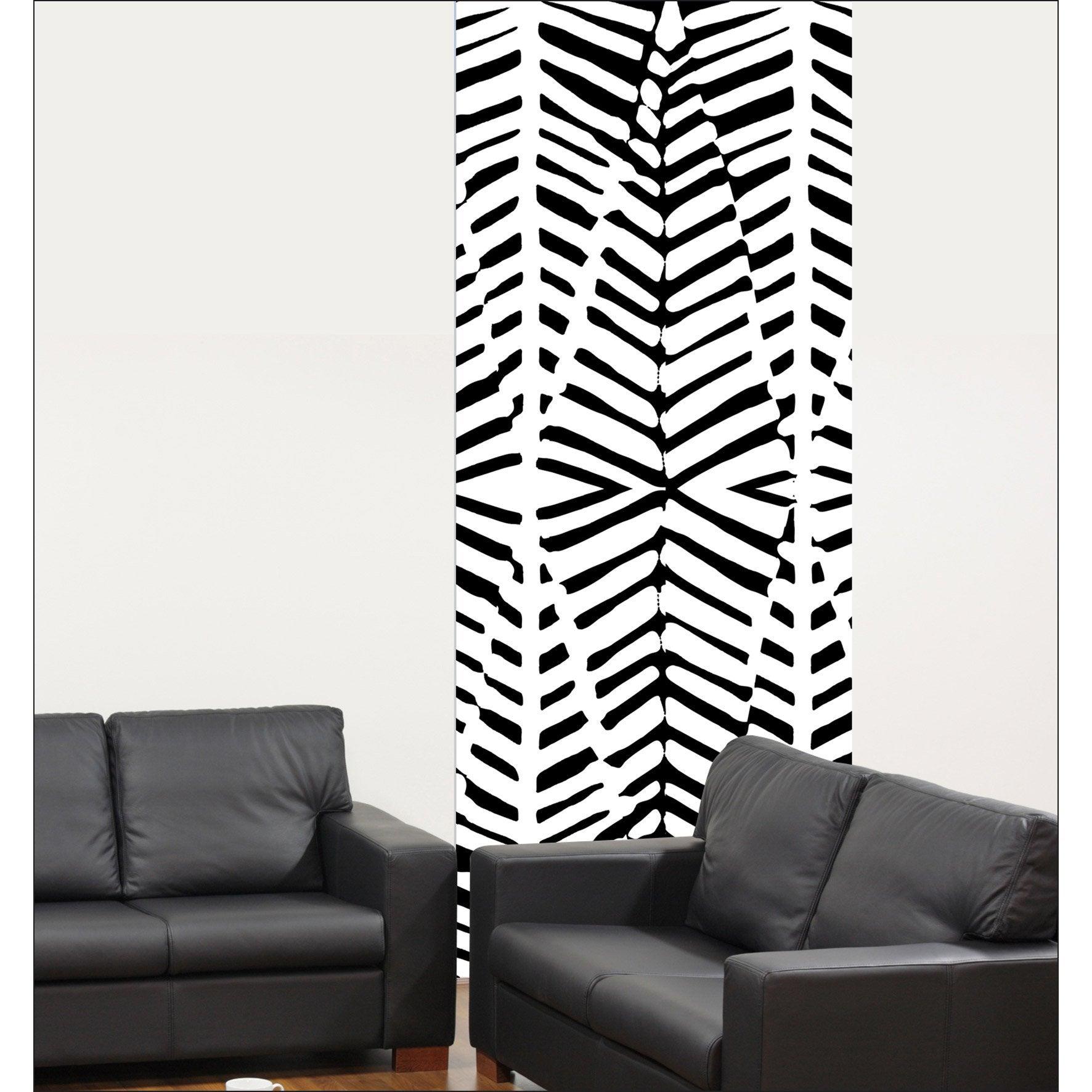 Papier peint intissé Lé unique motif zébrure noir & blanc