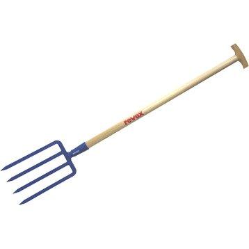 Fourche à bêcher acier forgé REVEX manche bois L.90 cm