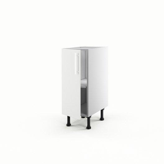 Meuble de cuisine bas blanc 1 porte d lice x x p - Meuble bas cuisine profondeur 30 cm ...