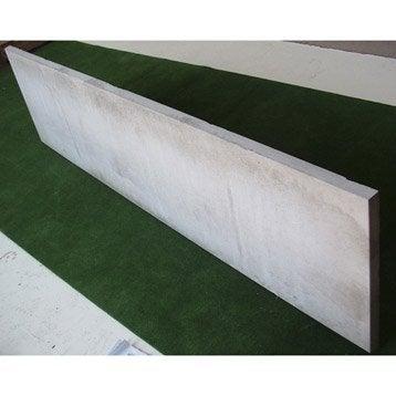 Plaque pour clôture droite en béton pleine, L.192 x H.50 cm x Ep.33 mm