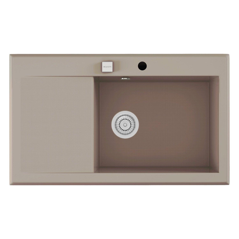 evier encastrer quartz et r sine gris shira 1 bac avec. Black Bedroom Furniture Sets. Home Design Ideas