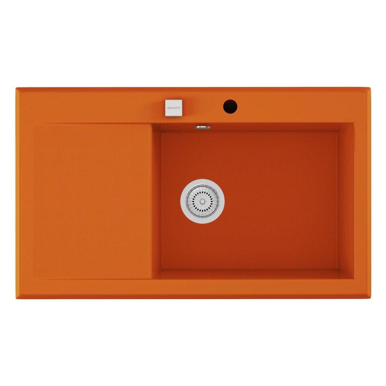 Evier A Encastrer Quartz Et Resine Orange Shira 1 Bac Avec