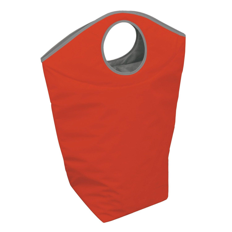 Panier à linge textile Color, rouge, l.53 x H.78 x P.25 cm