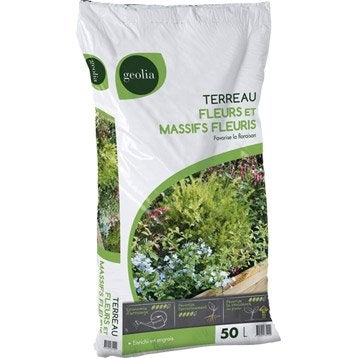 Terreau plantes fleuries et géraniums GEOLIA, 50 l