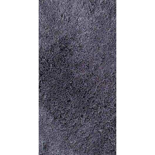 tapis gris shaggy agathe, l.60 x l.120 cm   leroy merlin