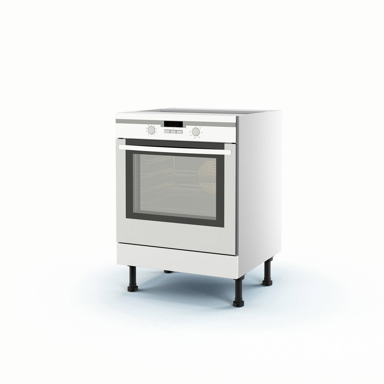 meuble de cuisine bas blanc four délice h.70 x l.60 x p.56 cm