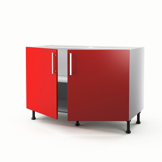 meuble de cuisine sous vier rouge 2 portes d lice x x cm leroy merlin. Black Bedroom Furniture Sets. Home Design Ideas