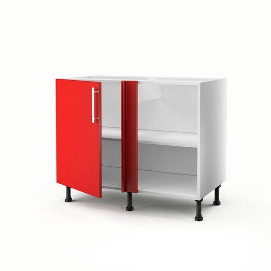 Meuble de cuisine bas d 39 angle rouge 1 porte d lice x - Meuble bas cuisine profondeur 30 cm ...
