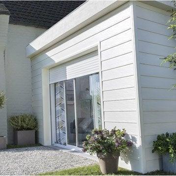Baie vitrée coulissante + volet aluminium blanc, motorisation SOMFY, 200x240cm