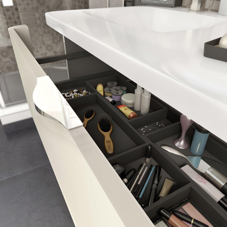 Meuble de salle de bains meuble vasque miroir colonne rangement au meilleur prix leroy - Meuble vasque 90 cm ...
