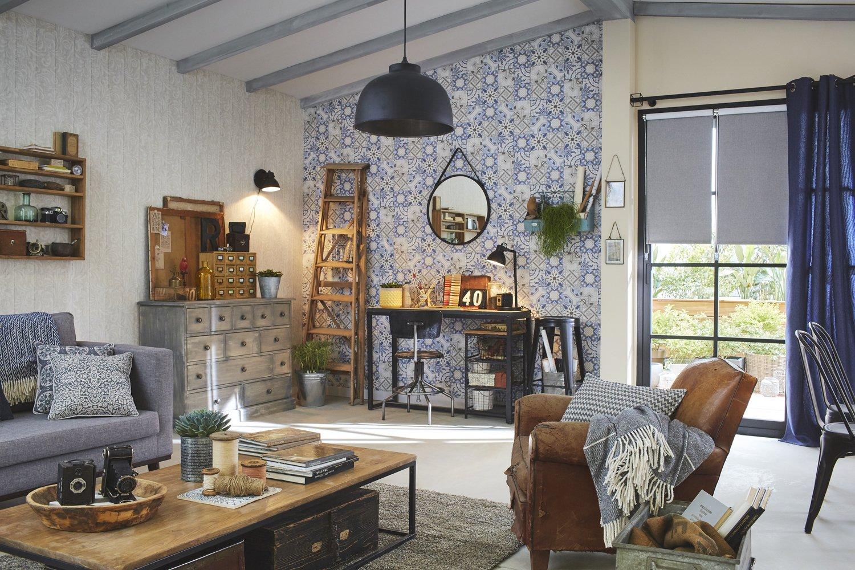 des tons bleus pour la d coration de votre s jour leroy merlin. Black Bedroom Furniture Sets. Home Design Ideas