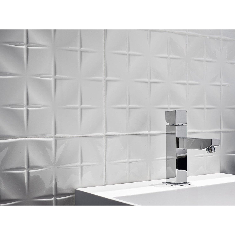 Faïence mur blanc, Décor tonic cross l.25 x L.50 cm