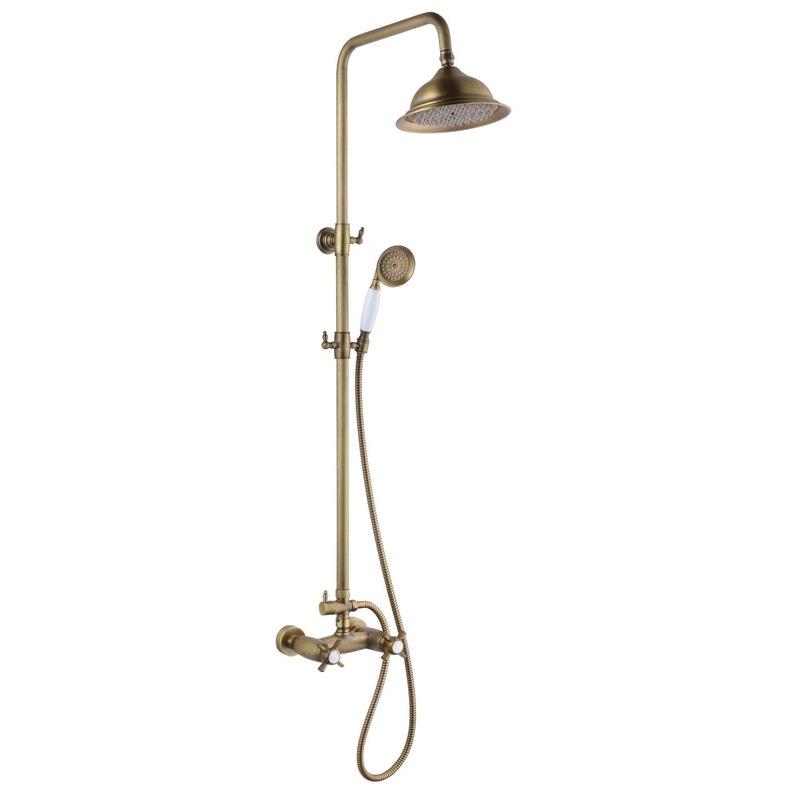 Colonne de douche avec robinetterie, ROUSSEAU Retro thermostatique vieux  bronze