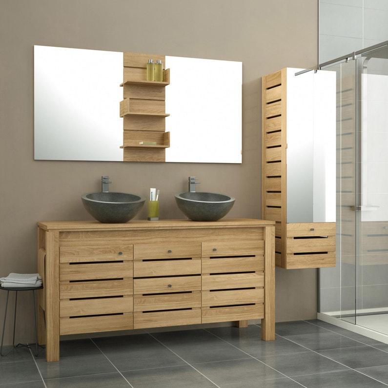 Meuble de salle de bains l.150 x H.76.5 x P.50 cm, teck, Moorea