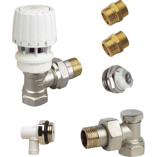 kit robinet thermostatique equerre 1521 mle femelle laiton blanc danfoss