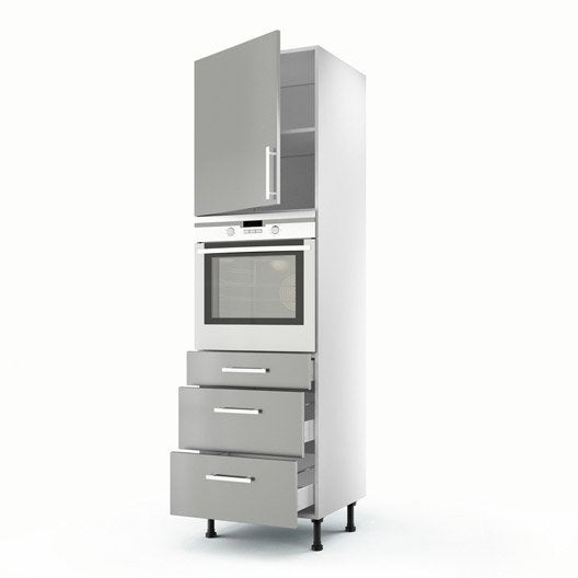 Meuble de cuisine colonne gris 1 porte 3 tiroirs d lice - Meuble cuisine 3 portes ...