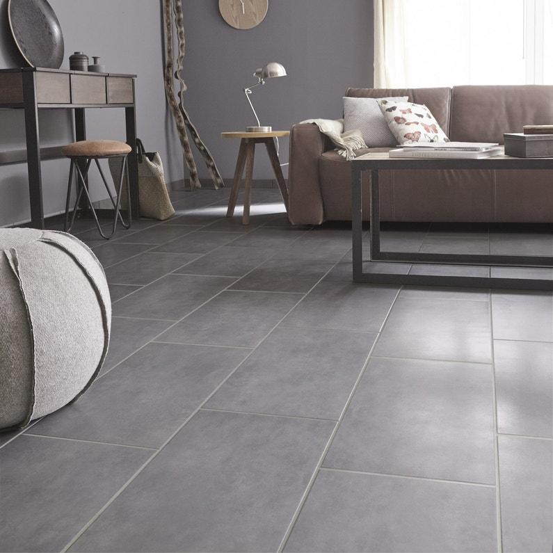 Carrelage sol et mur gris galet 3 effet béton Oslo l.30 x L.60.4 cm