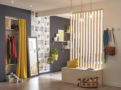 fabriquer une cloison ajour e en tasseaux de bois avec un. Black Bedroom Furniture Sets. Home Design Ideas