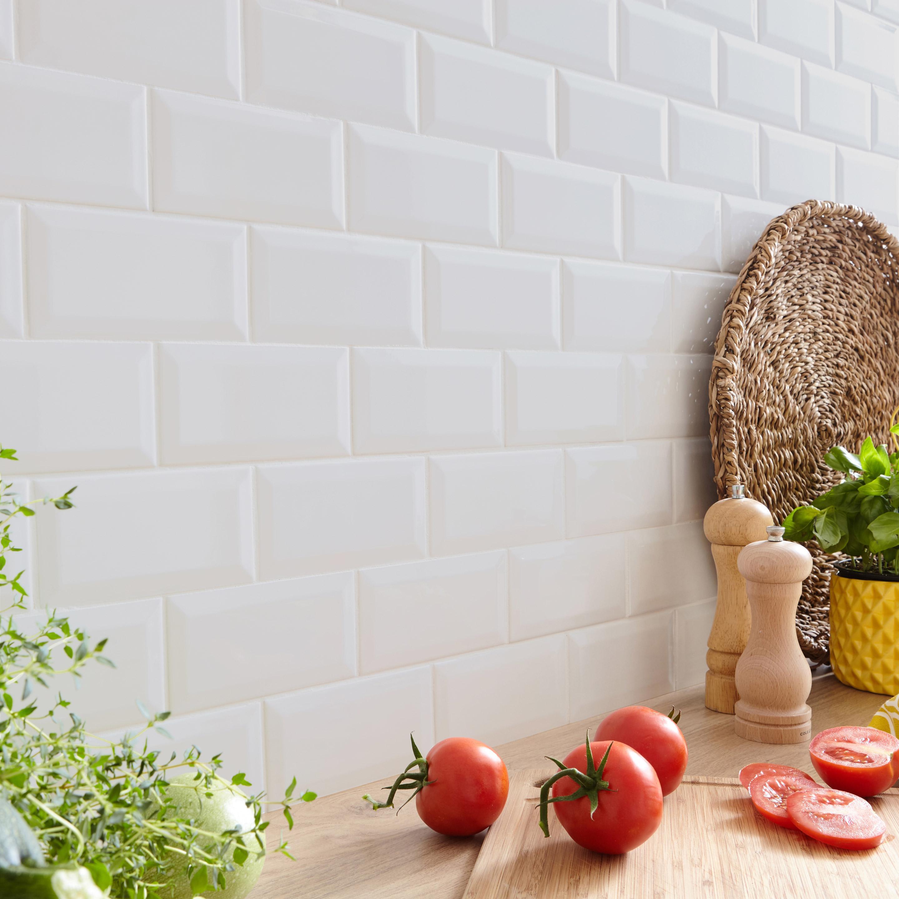Faïence mur uni blanc mat l.10 x L.20 cm, Metro