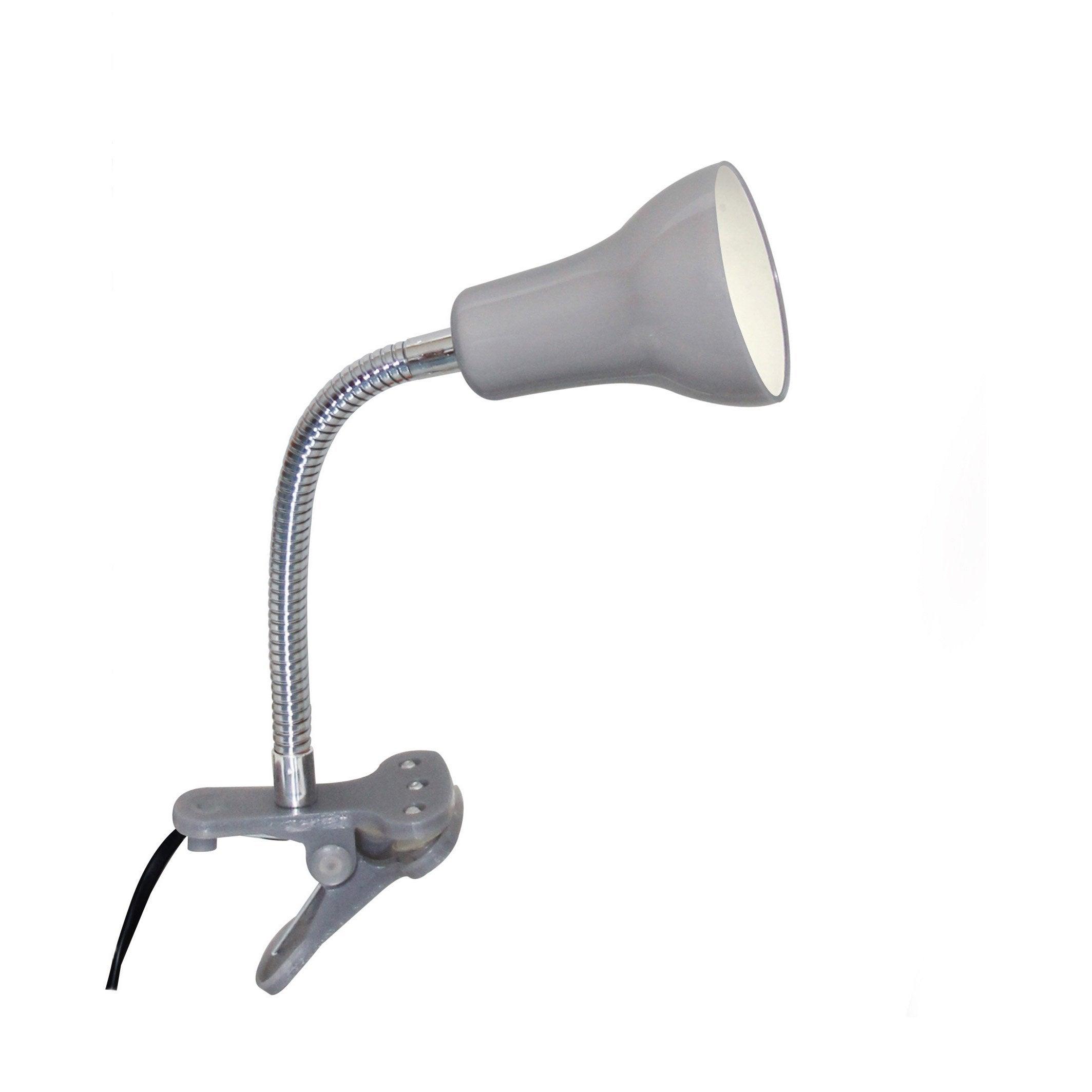 Lampe de bureau à pince, moderne, plastique gris commande, INSPIRE Salta
