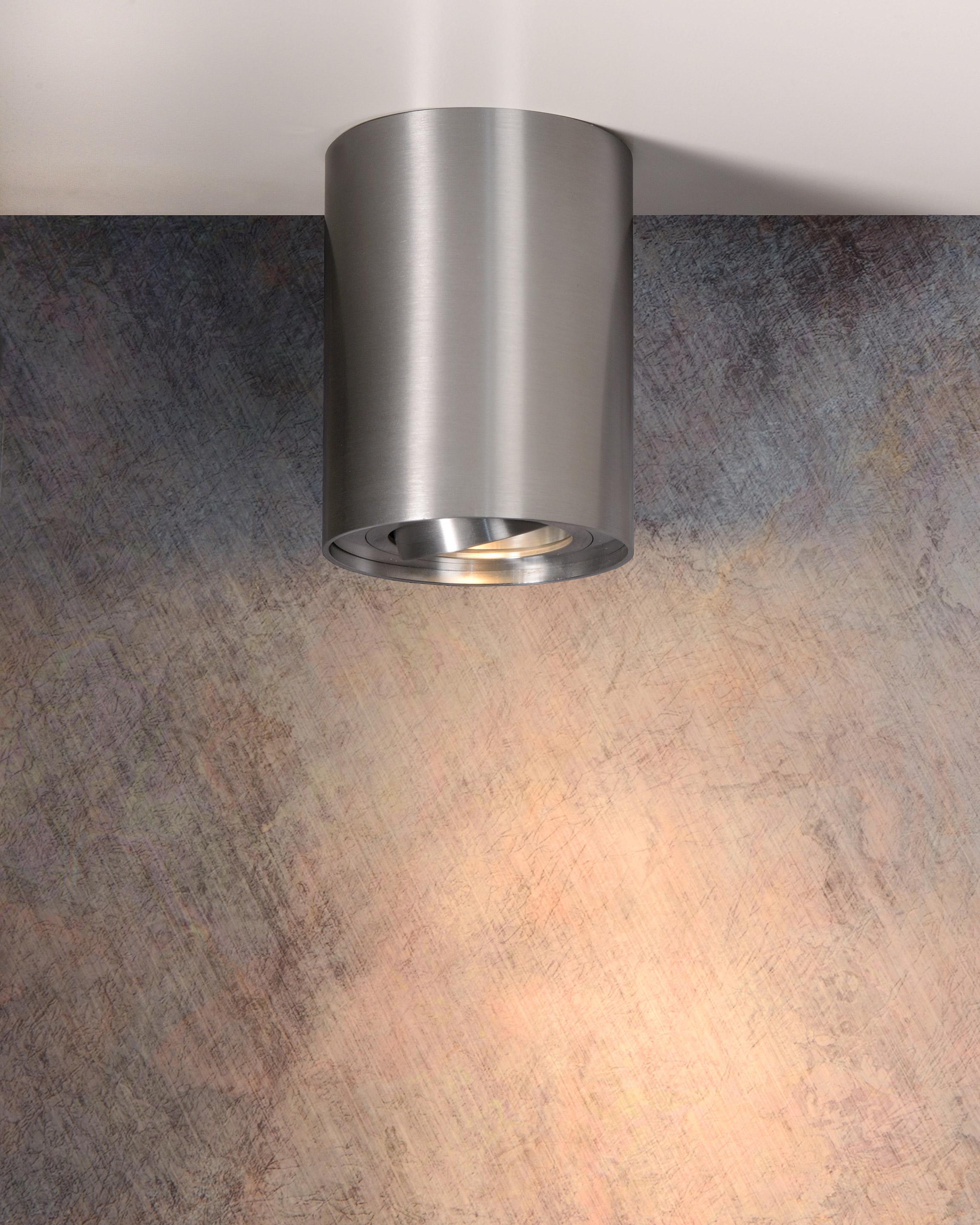 spot aluminium chrome dépoli lucide tube  leroy merlin