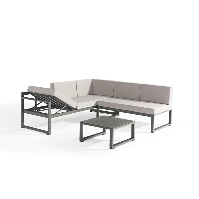 Salon bas de jardin Delorm relax gris, 4 personnes